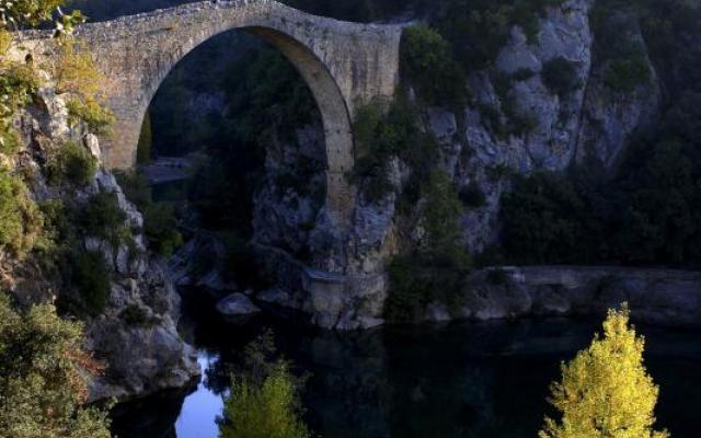 Medieval bridge over the river Llierca